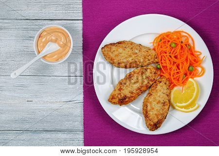 Cutlet Served With Fresh Shredded Carrot