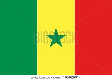 Senegal national flag and ensign, independence symbol. Vertical tricolour of green, yellow and red, five-pointed star at the centre. Flat style vector illustration