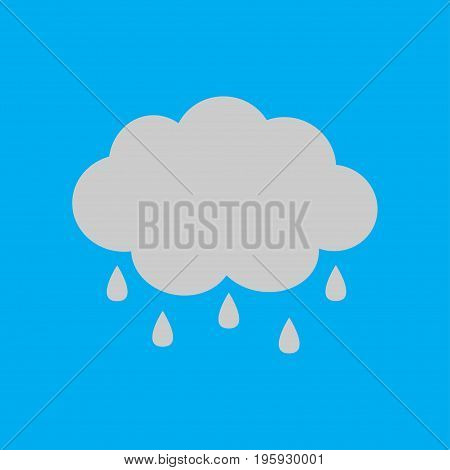 Cute cartoon cloud icon with rain drops. Isolated. Blue sky background. Baby character collection. Funny illustration. Flat design. Vector illustration
