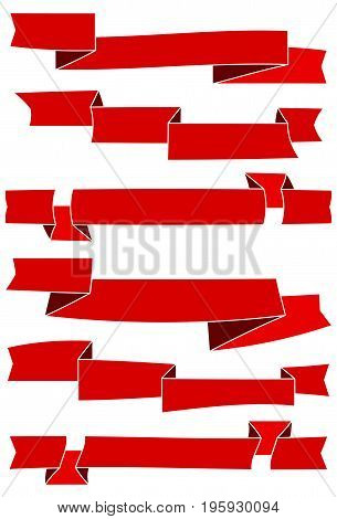 Set of six red cartoon ribbons for web design. Great design element isolated on white background. Vector illustration.