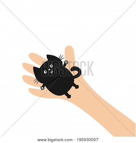 Hand arm holding black cat. Adopt animal pet. Helping hands concept. Funny gift. Cute cartoon character. Close up body part. Flat design style. White background. Isolated. Vector illustration