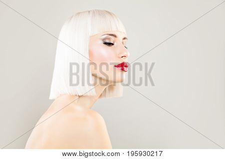 Cute Blonde Woman Fashion Model with Bob Hairstyle and Makeup on Banner Background