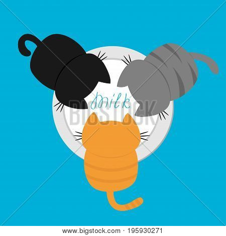 Three kittens eating drinking milk from bowl. Cat feeding concept. Funny kawaii baby kitty animal family. Cute cartoon pet character set. Flat design Blue background Isolated Vector illustration