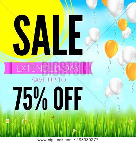 Summer selling ad banner with an inflatable colored balloons. Seventy five percent discounts, sale background, yellow sun, green field, white clouds and blue sky. Template for shopping, advertising.