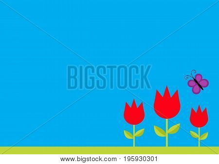 Three red tulip flower set with leaf and flying butterfly insect. Simple sticker template. Floral plant decoration element. Flat design. Blue sky background. Isolated. Vector