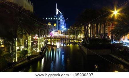 The famous Burj Al Arab hotel which is in the shape of a yatch in Dubai UAE.