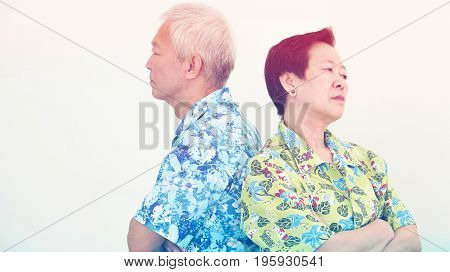 Asian Senior Couple Unhappy, Fighting. Relationship Problem