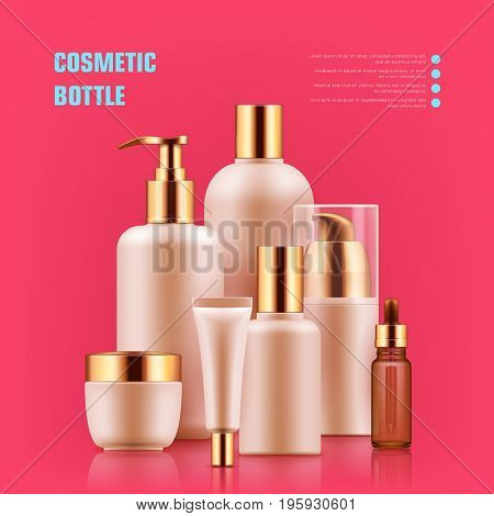 Cosmetic bottle realistic. Packaging with silver caps mockup for personal care best brands. Medical beauty concept. Realistic vector illustration on red background