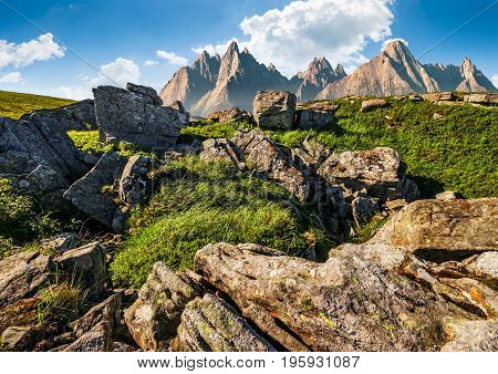 Rocky Peaks And Rocks On Hillside In Tatras