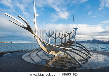 Reykjavik, Iceland - March 27 2016: The Sun voyager one of the Icelandic famous sculpture in Reykjavik the capital city of Iceland.