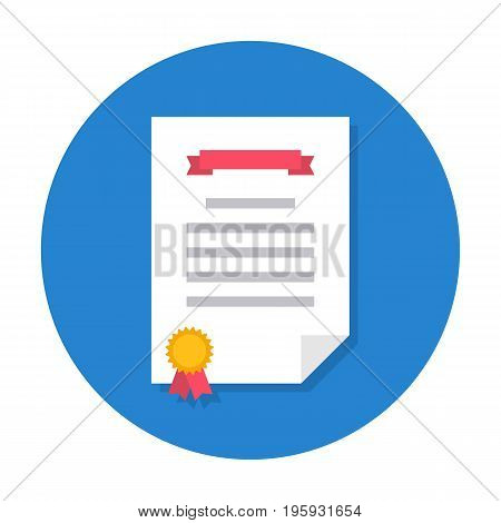Diploma flat icon. Certificate of congratulations, contract or achievement paper. Vector flat style cartoon illustration in rounded shape. Business concept