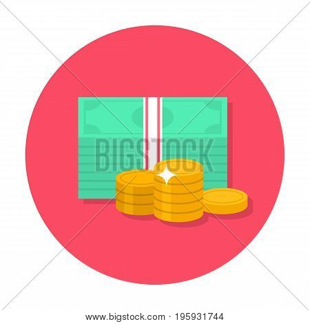Flat money icon. Bundle of banknote money and coins. Icon with long in rounded shape. Web and mobile design element. Cash, currency and dollar symbol. Vector colored illustration.
