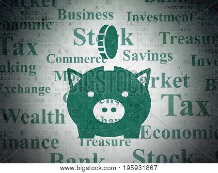 Money concept: Painted green Money Box With Coin icon on Digital Data Paper background with  Tag Cloud