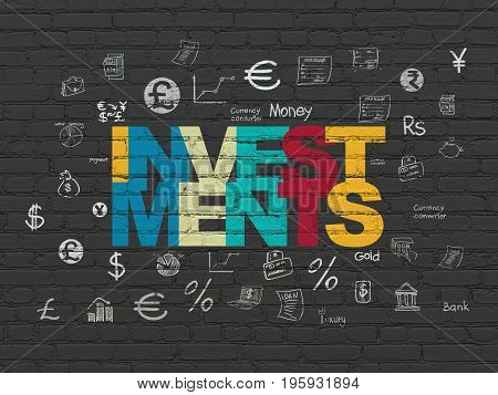 Currency concept: Painted multicolor text Investments on Black Brick wall background with  Hand Drawn Finance Icons
