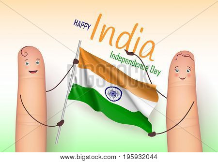 India independence day holiday. Cute fingers holding fabric. Culture and customs concept. Realistic vector illustration on white background