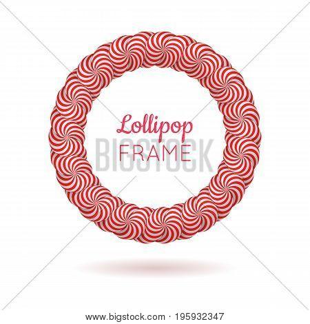 Pink frame from lollipops. Round pink striped frame from lollipops for designers and illustrators. Frame vector illustration.