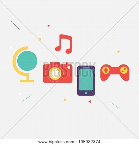 Multimedia icons set for web vector.Camera game music telephone icon vector