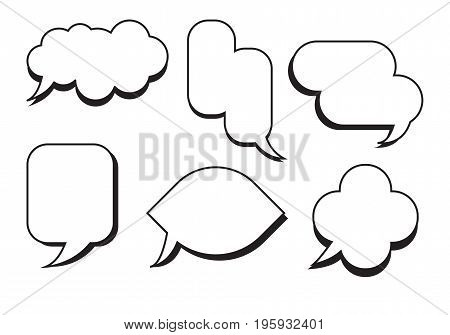 Comic text speech bubble set vector.Dialog empty box space with isolated white background.Empty speech bubble.