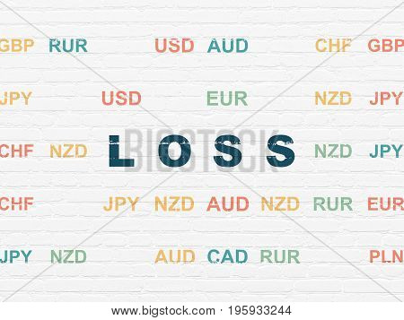 Finance concept: Painted blue text Loss on White Brick wall background with Currency