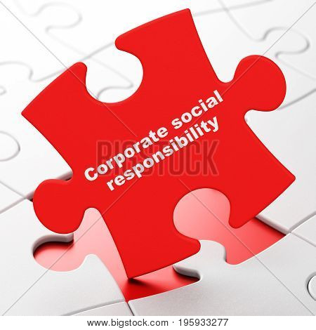 Finance concept: Corporate Social Responsibility on Red puzzle pieces background, 3D rendering