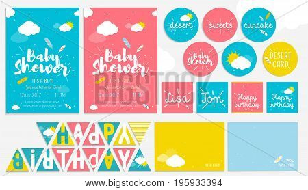 Big cute set for baby shower and birthday party. Invitation cards, wish and dessert cards, happy birthday flags. Design templates for girl and boy or twins with clouds, feathers and sun, summer bright colors.