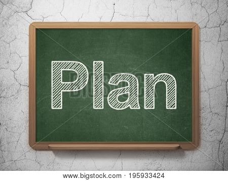 Business concept: text Plan on Green chalkboard on grunge wall background, 3D rendering