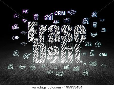 Finance concept: Glowing text Erase Debt,  Hand Drawn Business Icons in grunge dark room with Dirty Floor, black background