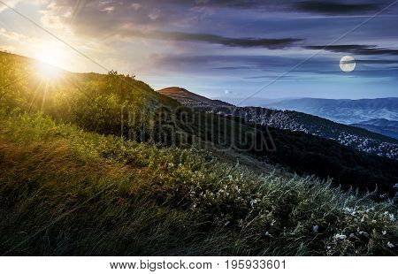 Time Change Concept Over Grassy Meadow On A Hillside