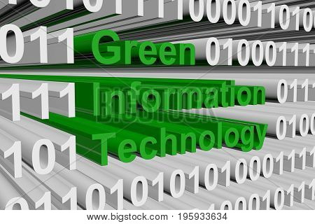 Green Information Technology as binary code 3D illustration