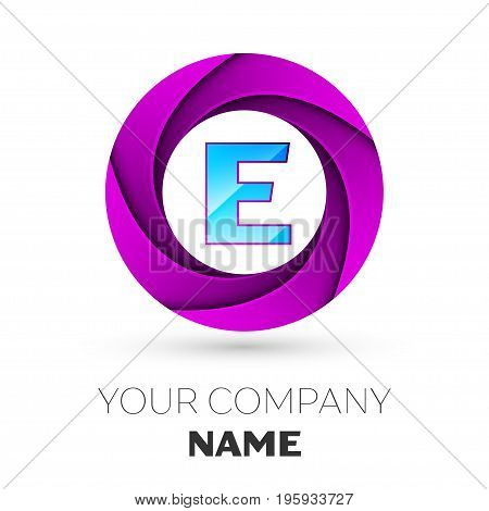 Realistic Letter E vector logo symbol in the colorful circle on white background. Vector template for your design