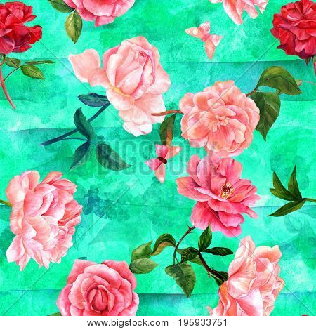 A seamless pattern with watercolour drawings of blooming red and pink roses, camellias, peonies, and butterflies, hand painted on a teal green background with organic motifs and brush strokes