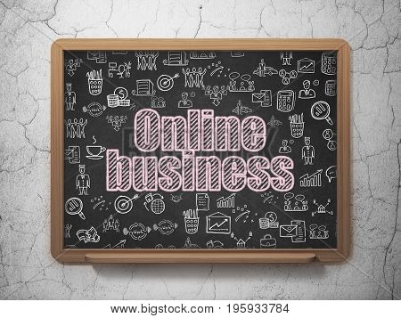 Finance concept: Chalk Pink text Online Business on School board background with  Hand Drawn Business Icons, 3D Rendering