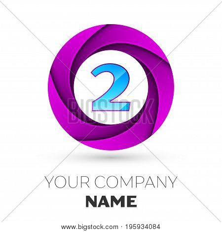Realistic number two vector logo symbol in the colorful circle on white background. Vector template for your design