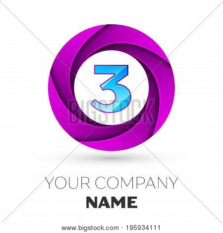 Realistic number three vector logo symbol in the colorful circle on white background. Vector template for your design