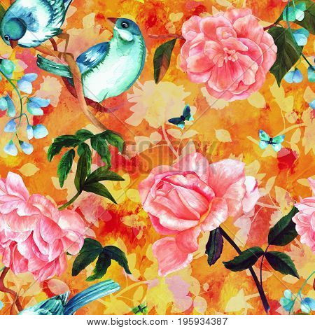 Seamless pattern with watercolour drawings of vibrant teal blue birds, blooming pink roses, camellias, peonies, and butterflies, hand painted on a golden yellow background with plant silhouettes