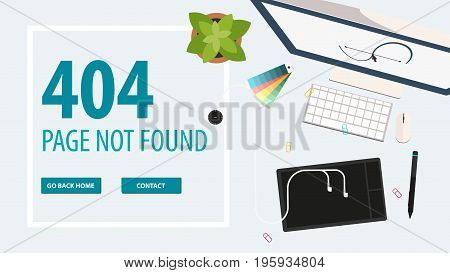 404 Error. Page Not Found. Ui Ux Template For Website. Vector Illustration.