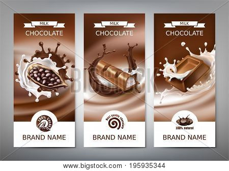 Set of vector 3D realistic illustrations, banners with splashes of melted chocolate and milk with falling pieces of chocolate bars, cocoa beans. Milk chocolate packaging design, template