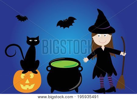 Happy Halloween Witch with Potion Cauldron and Cat