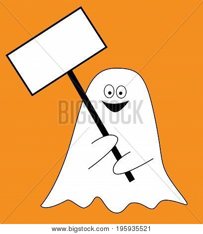 Happy Halloween Holiday Ghost with Sign Smiling