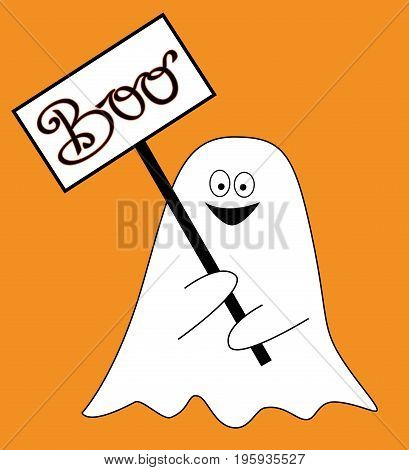Happy Halloween Holiday Ghost with Boo Sign