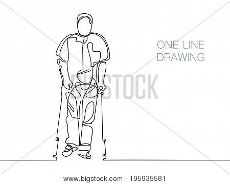 continuous line black and white drawing in minimalistic style, man walking with help of crutches, vector illustration