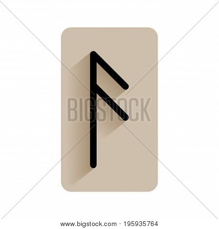 Ansuz. Runic alphabet and letters. Flat icon on white background for divination, prediction. Vector