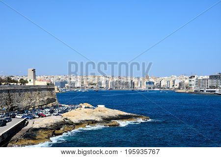 VALLETTA, MALTA - MARCH 30, 2017 - View towards Sliema seen from Valletta Valletta Malta Europe, March 20, 2017.