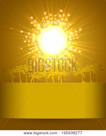 Magic Travel Background With Sun and Palms. Abstract Shining Background. Vector illustration