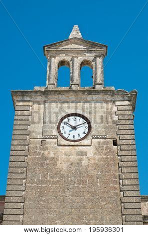 Perspective of Clocktower of Mottola. Puglia. Italy.