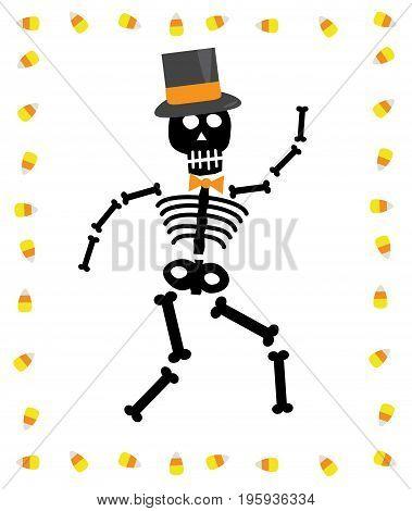 Happy Halloween Skeleton with Seasonal Candy Corn