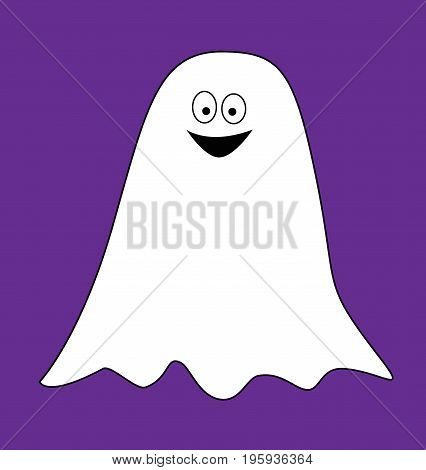 Happy Halloween Holiday Ghost on Purple Background