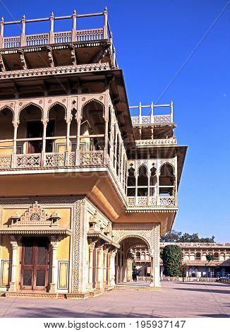 Mubarak Mahal building at the City Palace also known as the Chandra Mahal Jaipur Rajasthan India.