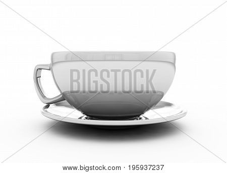 3d illustration of white cup isolated on white background