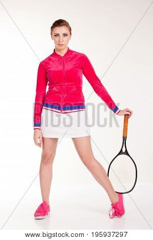 girl sports played in tennis racket